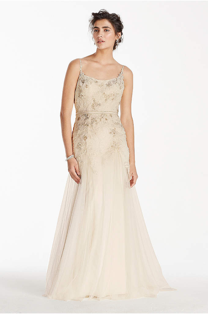 As-Is Net A-Line Wedding Dress with Straps - Won't it be lovely to gracefully float down