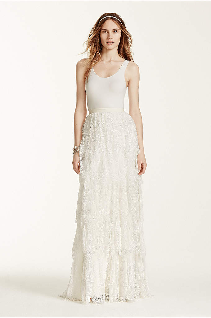 As-Is Lace Tiered Sheath Skirt - Leave your guests in awe with this beautifully