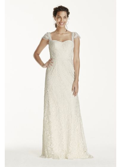 As-Is Cap Sleeve Beaded Lace Wedding Dress - This vintage, romantic sheath is ultra feminine and