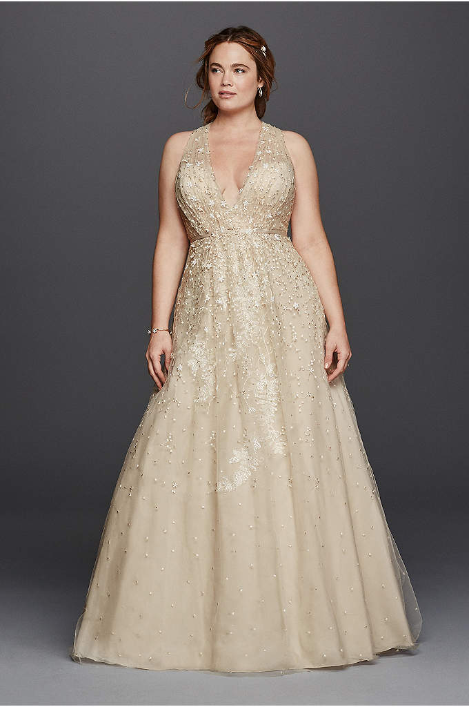 As-Is A-Line Wedding Dress with Plunging V-Neck - Embody old time glamour in this vintage inspired