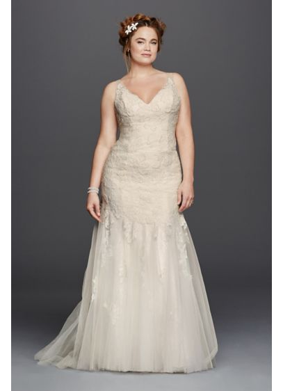 As-Is Illusion Tank Plus Size Wedding Dress - Softness and femininity reign in this dreamy lace