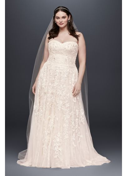 As-Is Lace A-Line Plus Size Wedding - Soft panels of floral and scalloped lace fall