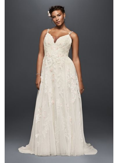 As Is Scalloped A Line Plus Size Wedding Dress David S Bridal