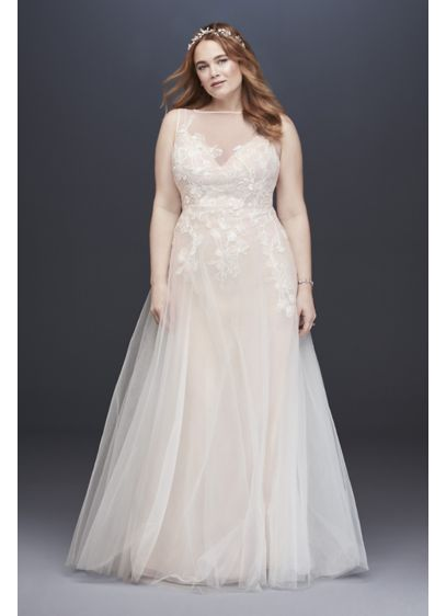 As-Is Embroidered Floral Plus Size Wedding Dress - As light and airy as a cloud, this