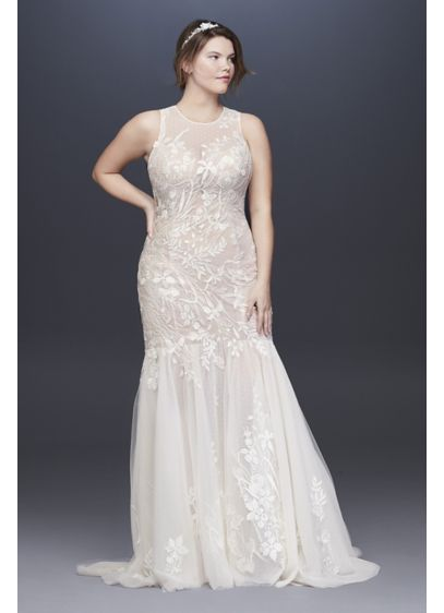 As Is Blooming Applique Plus Size Wedding Dress - An illusion high neck and sweeping, sheer point