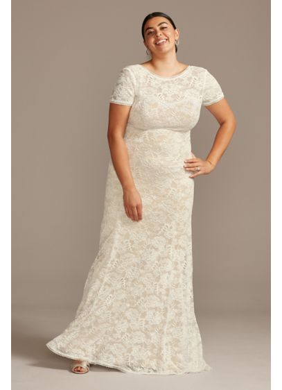 As Is Low Back Plus Size Lace Wedding - This romantic lace wedding dress combines an elegant