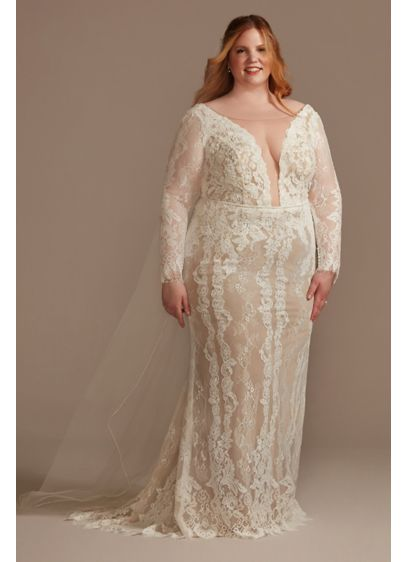 As Is Illusion Plunge Sleeved Plus Wedding Dress - Soft floral lace layered with hand-sewn lace appliques
