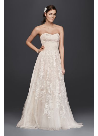 As-Is Petite Lace A-Line Wedding Dress - Soft panels of floral and scalloped lace fall