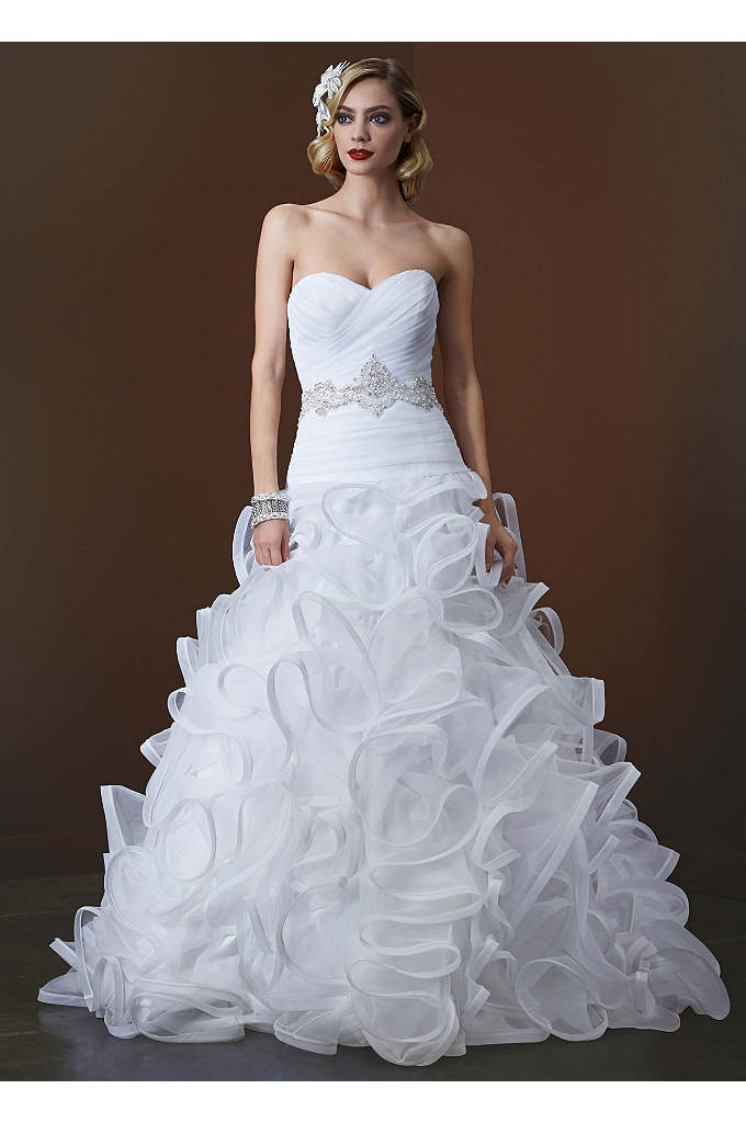 Ball Gown with Embellished Waist and Ruffled Skirt - The height of Hollywood glamour, this unique and