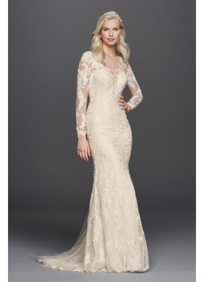 As-Is Long Sleeve Illusion V-Neck Wedding Dress - You will look absolutely regal in this beaded