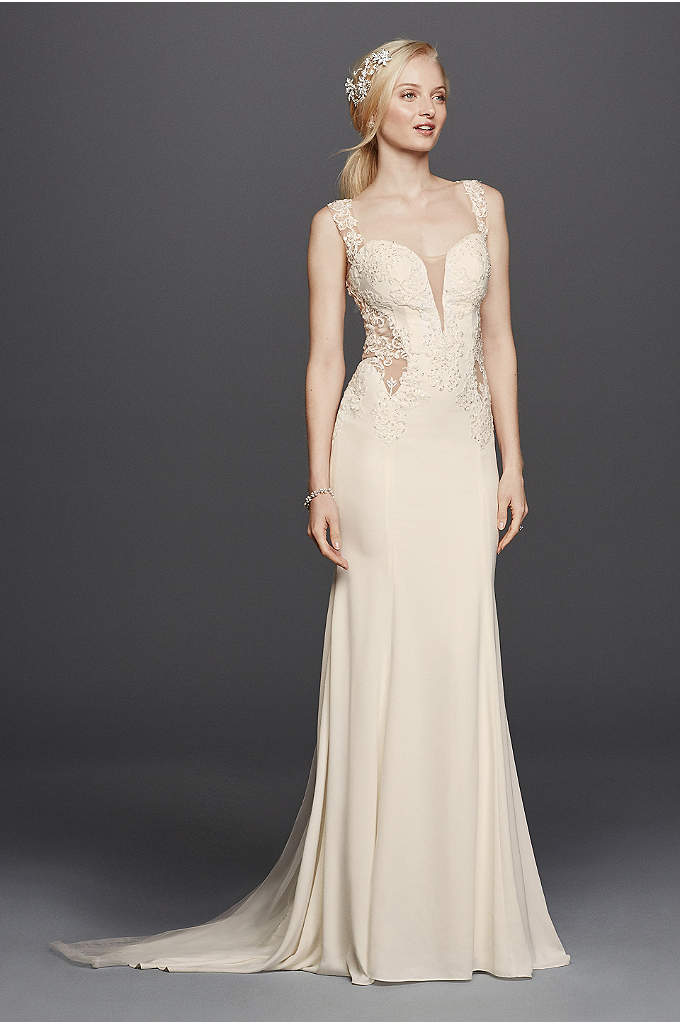 As-Is Beaded Wedding Dress with Illusion Details - Steal the show in this crepe sheath wedding