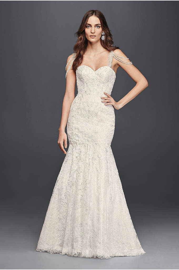 As-Is Lace Mermaid Dress with Swag Straps - The beaded swag straps on this tulle and