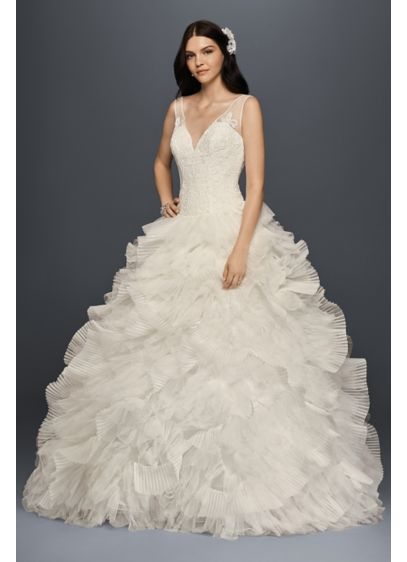 As-Is Plunging V-Neck Wedding Gown - Imagine the entrance you'll make in this dramatic