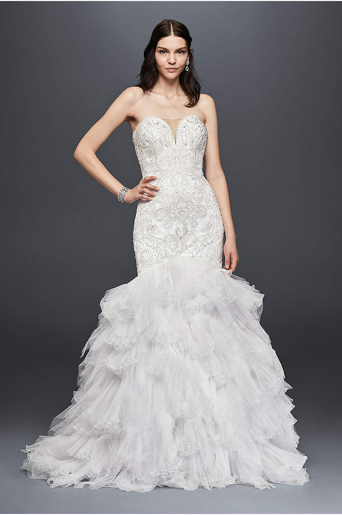 As Is Beaded Wedding Dress with Tulle Skirt