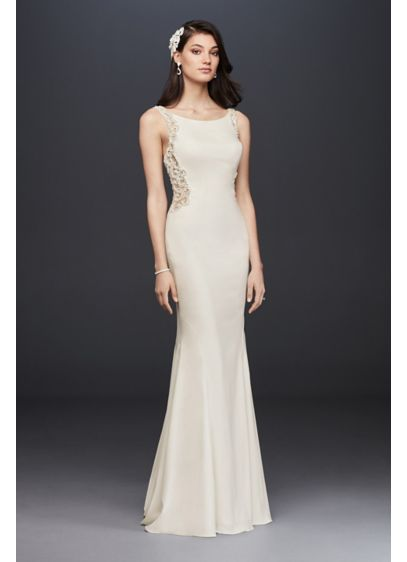 As-Is Beaded Illusion and Crepe Sheath Dress - This chic crepe sheath gown takes a clean-lined