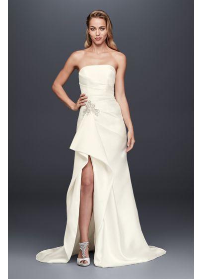 As Is Mikado Sheath Wedding Dress with Slit - So stunning! This mikado sheath wedding gown is