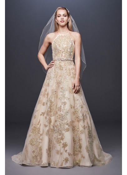 As-Is Allover Lace Applique Halter Ball Gown - The beauty is in the details of this