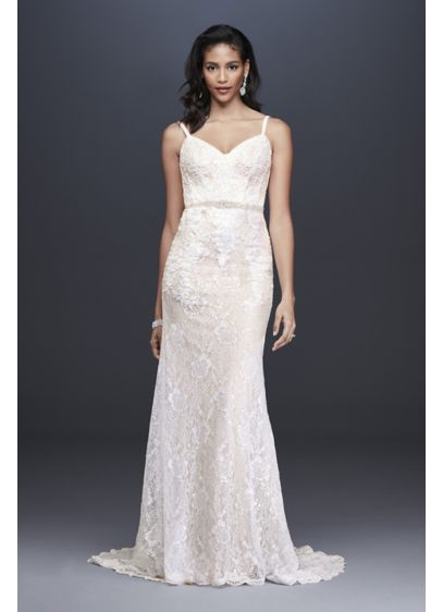 As-Is Sequin Lace Sheath Wedding Dress - Sequined appliques add shine to this slim and