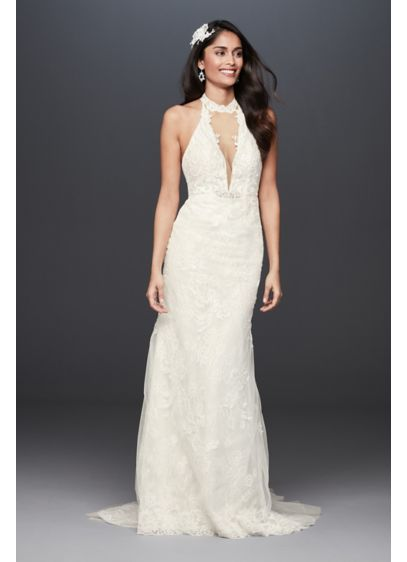 As-Is Plunge Neckline Lace Halter Wedding Dress - A dramatic wedding dress with wow factor. The