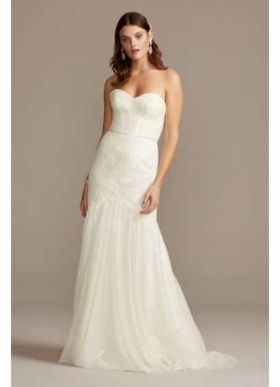 As Is Sequin Corset Wedding Dress with Beading - This allover sequin trumpet wedding dress is worth