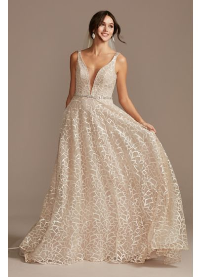 As Is Sequin Illusion Plunge Wedding Dress - This plunging A-line wedding dress gleams from every