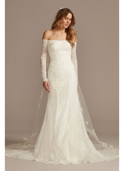As Is Long Sleeve Off Shoulder Wedding Dress - A celebrity-inspired masterpiece, this form-fitting allover lace wedding