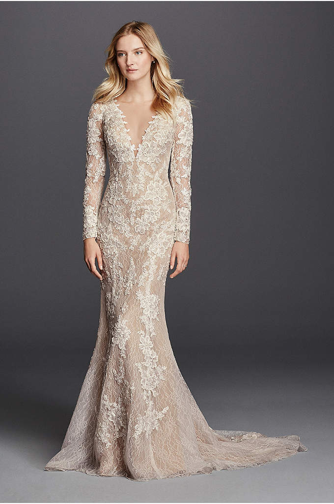 As-Is Sheath Long Sleeve with Illusion V-Neckline - Sultry brides look no further! This dramatic lace