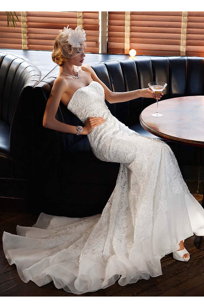 Lace Over Charmeuse Gown with Soutache Detail - Elegant and unique, this lace-over-charmeuse trumpet gown balances