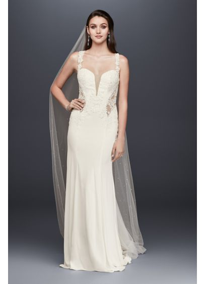 As-Is Petite Lace Wedding Dress with Illusion Neck - Steal the show in this crepe sheath wedding