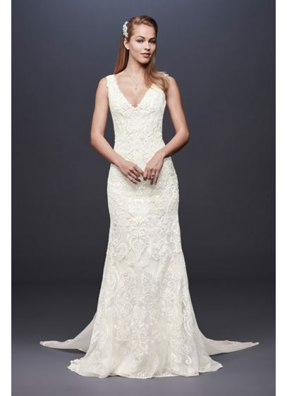 As Is Illusion Lace Petite Lined Wedding Dress - The plunging tank bodice of this petite sheath