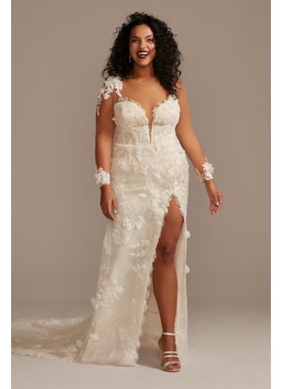 As Is 3D Floral Plus Wedding Dress with - This illusion long-sleeve, ultra sexy wedding dress combines