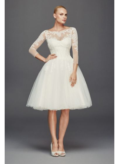 As-Is 3/4 Sleeve Short Wedding Dress - Inspired by 1950s couture, this short tulle wedding