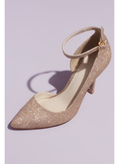 David's Bridal Grey (Glitter D'Orsay Heels with Ankle Strap)