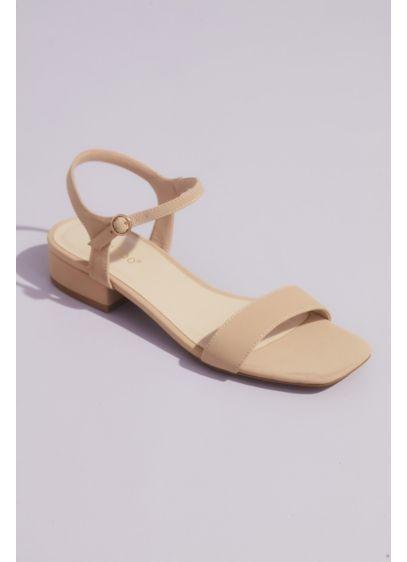 Bamboo Beige (Metallic Block Heel Sandals with Ankle Strap)