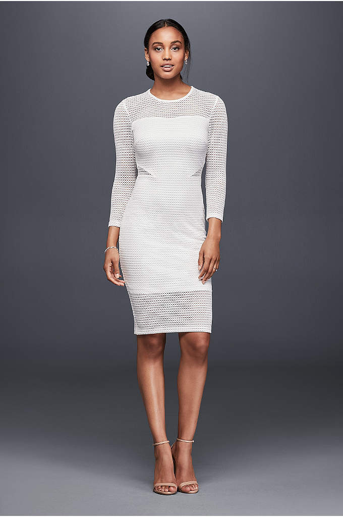 Illusion Jersey Sheath Dress with Side Details - Slip into something effortlessly cool on your wedding