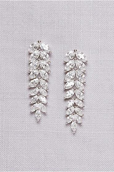 Cubic Zirconia Leaf Drop Earrings