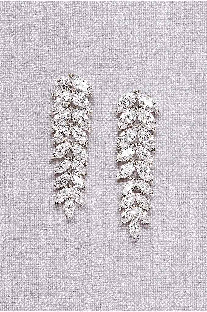 Cubic Zirconia Leaf Drop Earrings - Sparkling cubic zirconia leaves drape gracefully from your