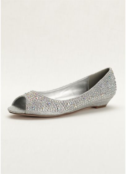 c4dbaecf3d7 Low Wedge Peep-Toes with Crystals. AJUSTIN10. Grey Soft   Flowy David s  Bridal Bridesmaid Dress