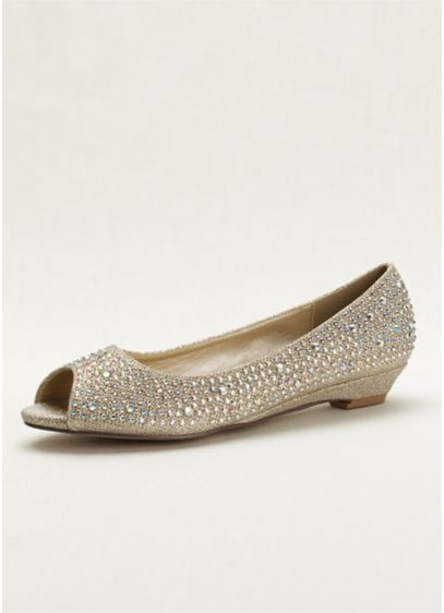 Beige (Low Wedge Peep Toe with AB Crystals)