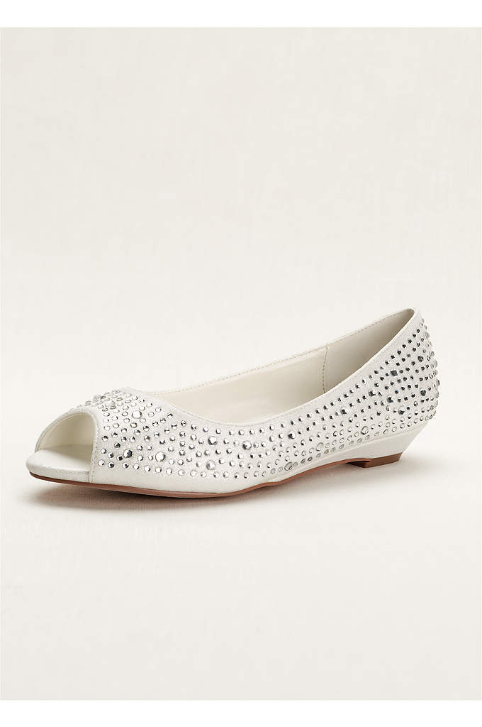 Low Wedge Peep Toe with AB Crystals