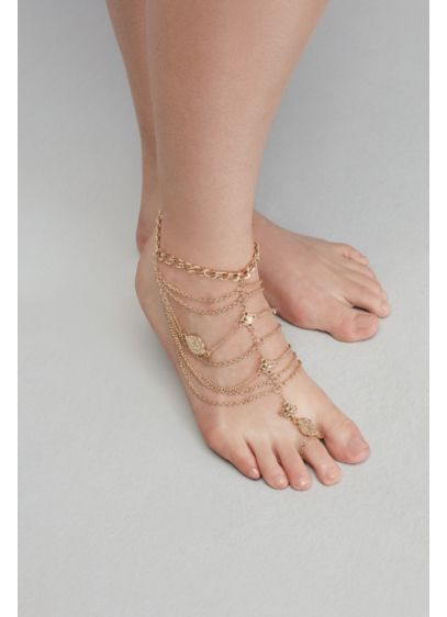 Draped Chains and Coins Wedding Foot Jewelry - No shoes? No problem! Walk down the sand-covered