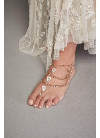 Crystal Embellished Wedding Foot Jewelry - No shoes? No problem! Walk down the sand-covered