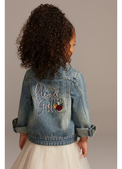 Blue (Little Miss Flower Girl Embroidered Jean Jacket)
