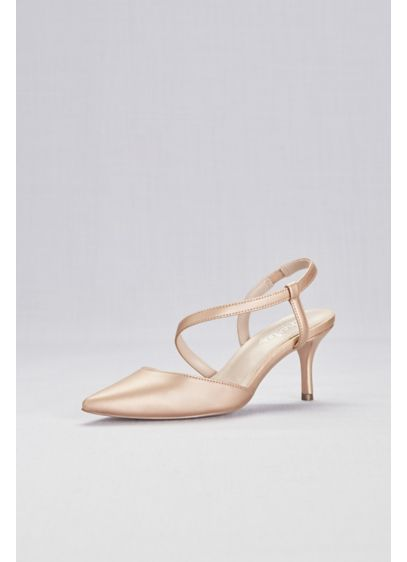 Charles By Charles David Pink (Metallic Pointy Toe Heels with Swooping Strap)