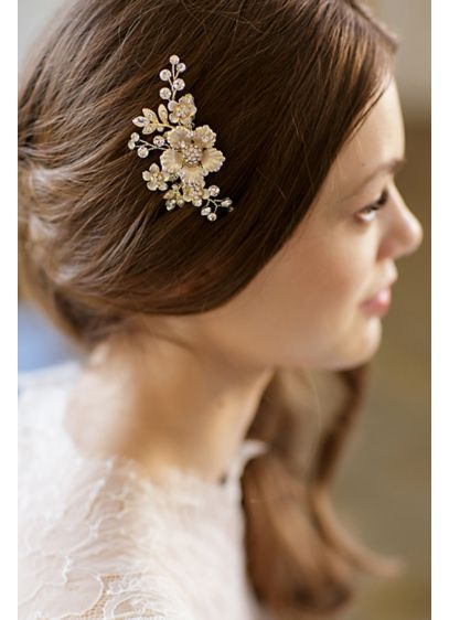 Hand-Wired Floral Comb with Crystals - Wedding Accessories