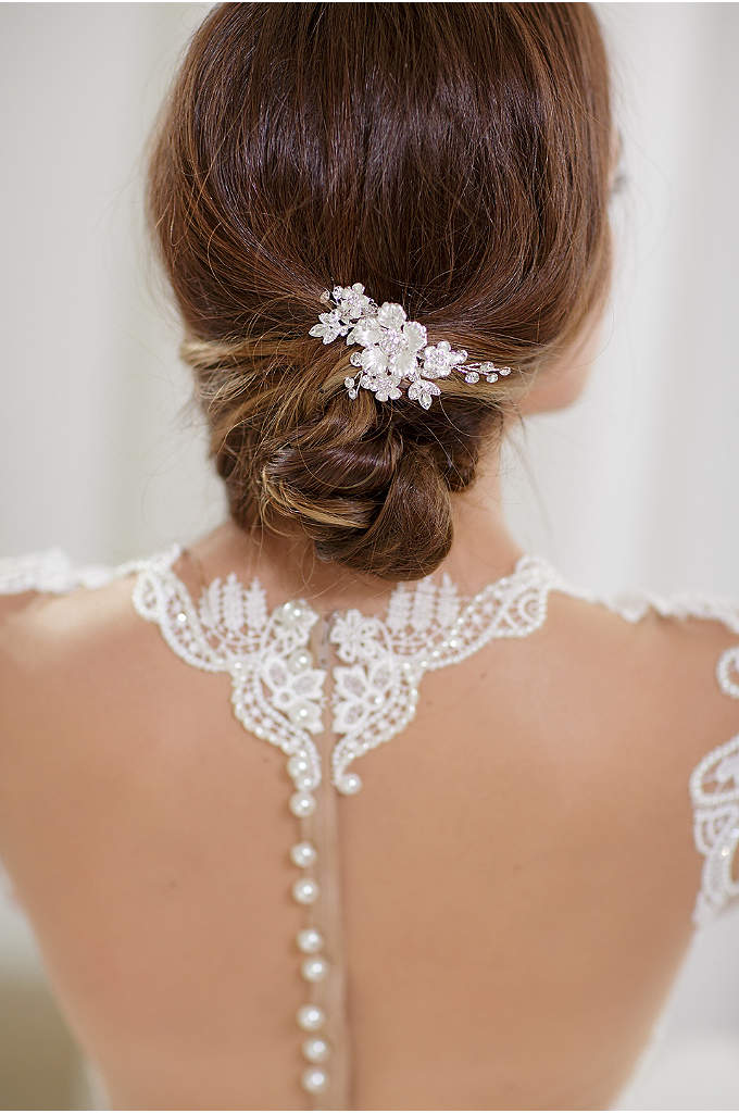 Hand-Wired Floral Comb with Crystals - This delicate, hand-wired hair comb features crystal filigree