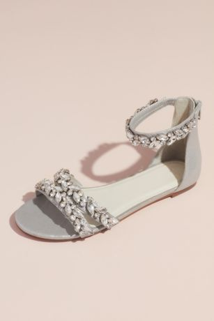 b3d006265fb David s Bridal Grey Flat Sandals (Jeweled Metallic Ankle Strap Flat Sandals)