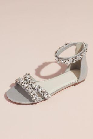 0327b4c70 David s Bridal Grey Flat Sandals (Jeweled Metallic Ankle Strap Flat Sandals)