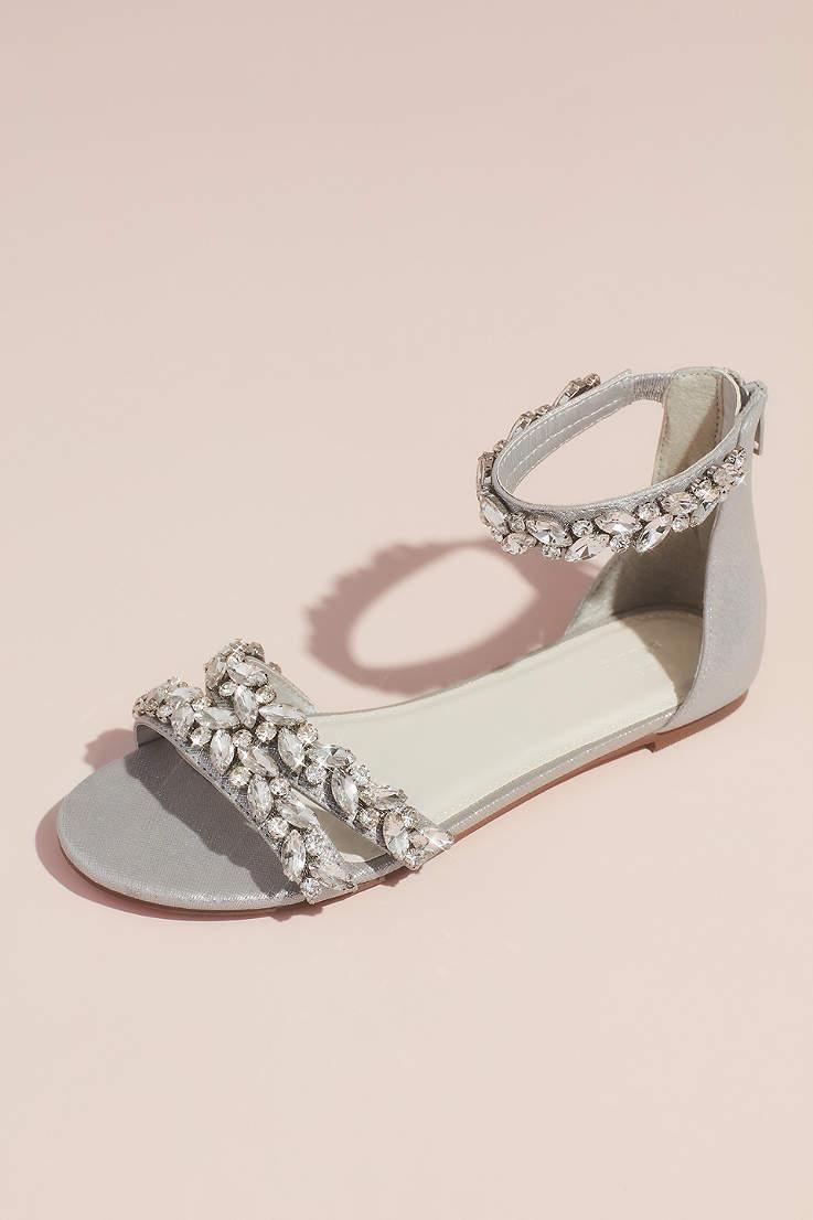 7176092ffab0 David s Bridal Grey Flat Sandals (Jeweled Metallic Ankle Strap Flat Sandals)