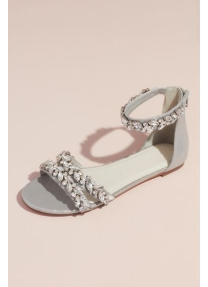Jeweled Metallic Ankle Strap Flat Sandals - Faceted crystal straps turn these strappy metallic sandals